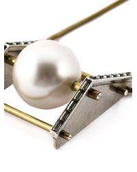 Lanvin | Metallic Pearl Pendant Necklace | Lyst