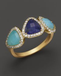 Meira T | Blue 14k Yellow Gold Three-triangle Diamond, Amazonite & Tanzanite Ring | Lyst