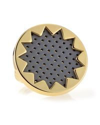 House of Harlow 1960 | Black Perforated Leather Sunburst Ring Gray | Lyst