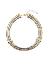 TOPSHOP - Metallic Gold And Silver Torque Necklace - Lyst