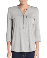 Calvin Klein | Gray Zip Roll-sleeve Top | Lyst
