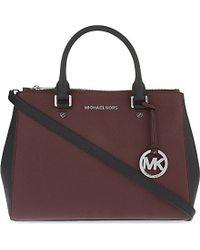 MICHAEL Michael Kors | Purple Sutton Medium Saffiano Leather Satchel, Women's, Merlot/black | Lyst