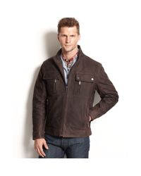 Michael Kors | Brown Lowell Four Pocket Leather Moto Jacket for Men | Lyst