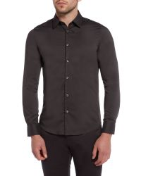 Sisley Men | Gray Plain Slim Fit Long Sleeve Shirt for Men | Lyst
