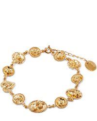 Alex Monroe - Metallic Gold-plated Small Linked Wildflower Cameo Bracelet - Lyst
