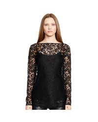 Ralph Lauren Black Label - Black Sebrina Lace Top - Lyst