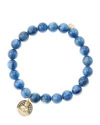 Sydney Evan - Blue 8Mm Kyanite Beaded Bracelet With 14K Gold/Diamond Sitting Buddha Charm (Made To Order) - Lyst