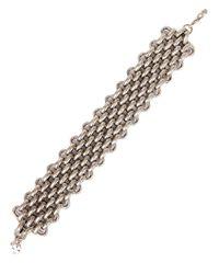 Lucky Brand | Metallic Silvertone Woven Chain Bracelet | Lyst