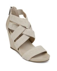 BCBGeneration | Gray Bruce Elastic Open-toe Wedge Sandals | Lyst
