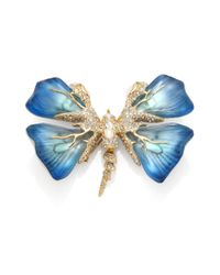 Alexis Bittar - Blue Lucite Motherofpearl Doublet Crystal Butterfly Pin - Lyst