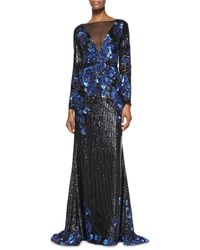 Badgley Mischka - Blue Long-sleeve Plunge-neck Illusion Sequined Gown - Lyst