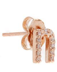 KC Designs - Pink Rose Gold Diamond N Single Stud Earring - Lyst