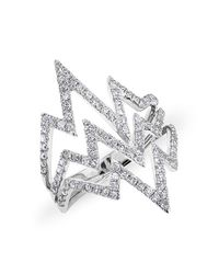 Anne Sisteron | 14kt White Gold Diamond Triple Heartbeat Ring | Lyst