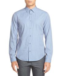 VINCE | Blue 'end On End' Trim Fit Sport Shirt for Men | Lyst
