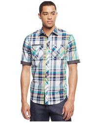 Sean John - Blue Slub Check Shirt for Men - Lyst