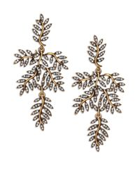 Oscar de la Renta | Metallic Crystal Leaf Clip-on Drop Earrings | Lyst