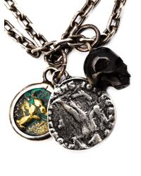 M Cohen | Metallic Agate Skull Charm Necklace for Men | Lyst