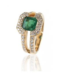 De Grace | Metallic Emerald Saturne Ring | Lyst