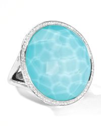 Ippolita - Metallic Stella Large Lollipop Ring In Turquoise Doublet With Diamonds - Lyst