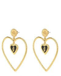 Juicy Couture | Metallic Enamel Hearts Open Heart Hoop Earring | Lyst