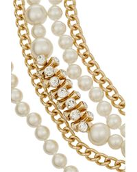 Kenneth Jay Lane - White Gold-Plated, Swarovski Crystal And Faux Pearl Necklace - Lyst