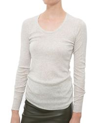 INHABIT | Natural Scoop-Neck Cotton Top | Lyst