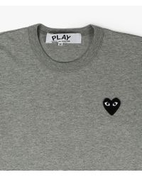 Play Comme des Garçons | Gray Classic Black Heart Patch Tee for Men | Lyst