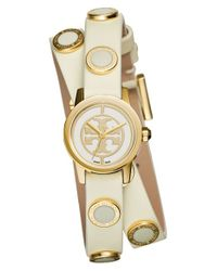 Tory Burch | White 'reva Mini' Logo Dial Double Wrap Leather Strap Watch | Lyst