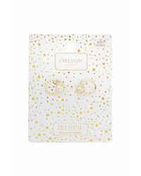 TOPSHOP | Metallic Gold Plated Cubic Zirconia Earrings | Lyst