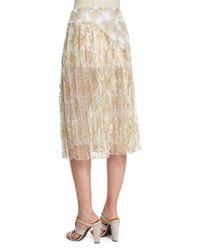 Oscar de la Renta - Metallic Multi-lace Asymmetric Ruffle Skirt - Lyst