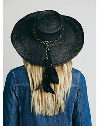 Free People   Black Talitha Straw Hat   Lyst