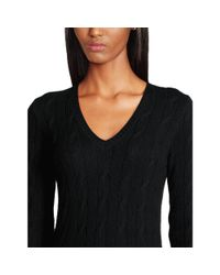 Ralph Lauren Black Label - Black Cabled Cashmere Crew Neck - Lyst