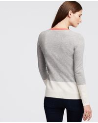 Ann Taylor - Gray Petite Colorblock Cashmere V-neck Sweater - Lyst