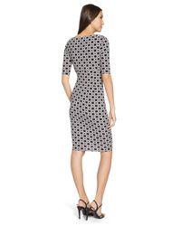 Lauren by Ralph Lauren - Black Printed Faux-Wrap Dress - Lyst