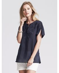 Banana Republic | Blue Embroidered Voile Top | Lyst