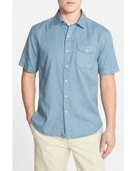 Tommy Bahama | Blue 'pacific Sands' Short Sleeve Oxford Sport Shirt for Men | Lyst