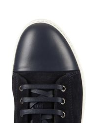 Lanvin - Blue Suede and Leather Mid-Top Sneakers for Men - Lyst