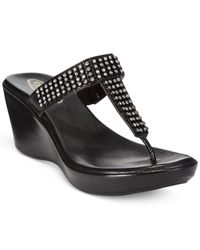 Callisto | Black Raine Platform Wedge Embellished Thong Sandals | Lyst