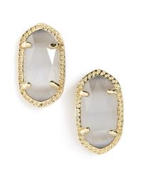 Kendra Scott | Gray 'ellie' Oval Stone Stud Earrings - Slate/ Gold | Lyst