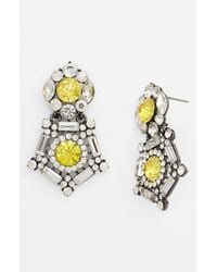 Natasha Couture | Yellow 'sherrif' Crystal Drop Earrings | Lyst