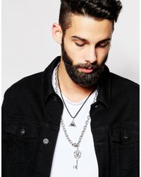 ASOS | Metallic Necklace Pack With Evil Eye And Key for Men | Lyst