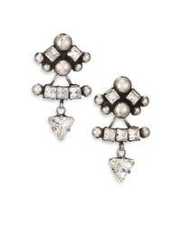 DANNIJO - Metallic Jia Crystal Ear Jacket & Button Earrings Set - Lyst