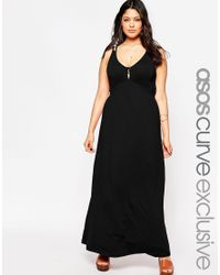 Asos Curve | Black Plunge Maxi Dress With Double Strap | Lyst