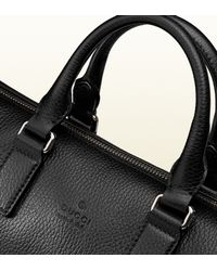 Gucci - Black Leather Briefcase With Gusset for Men - Lyst