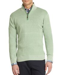 Saks Fifth Avenue | Green Birdseye Cotton & Silk Sweater for Men | Lyst
