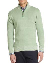 Saks Fifth Avenue - Green Birdseye Cotton & Silk Sweater for Men - Lyst