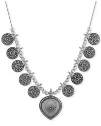 Lucky Brand - Metallic Silver-tone Beaded Disc Drama Necklace - Lyst