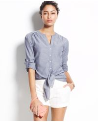 Ann Taylor - Blue Chambray Tie Front Shirt - Lyst
