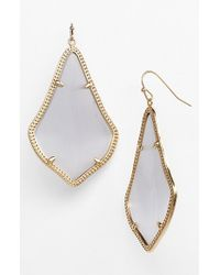 Kendra Scott | Gray 'alexandra' Large Drop Earrings - Slate Catseye/ Gold | Lyst