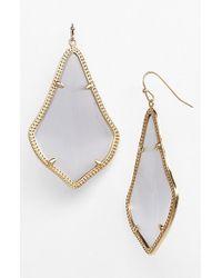 Kendra Scott - Gray 'alexandra' Large Drop Earrings - Slate Catseye/ Gold - Lyst